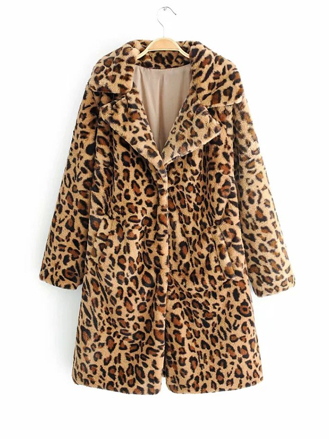 Leopard Leopard Print Cotton Shawl Collar Long Sleeve Outerwear