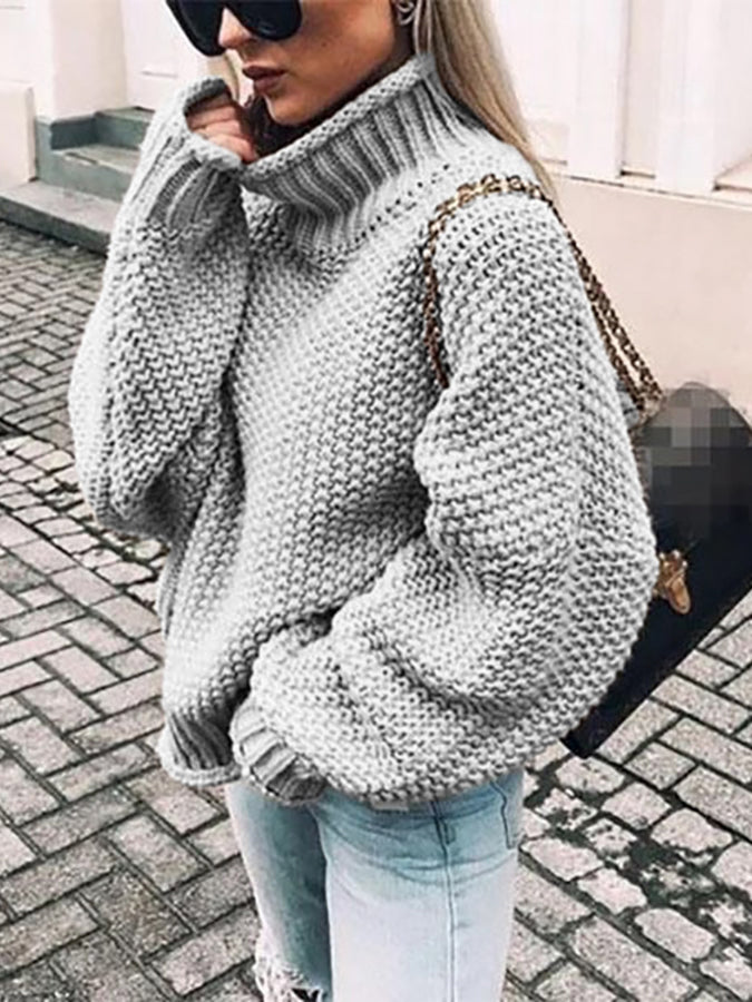Casual Turtleneck Knitted Sweater