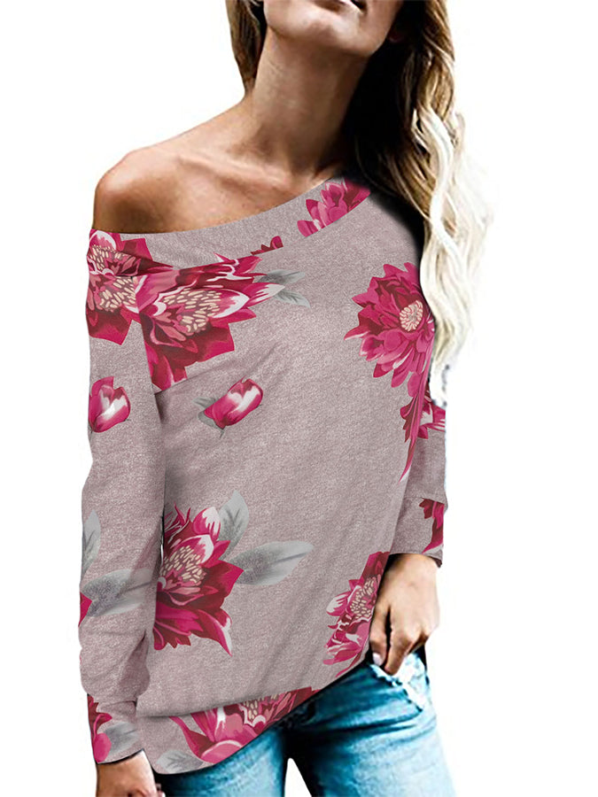Cotton Long Sleeve Abstract Off Shoulder Shirts & Tops