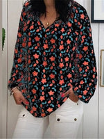 Floral-Print Long Sleeve Floral Shirts & Tops