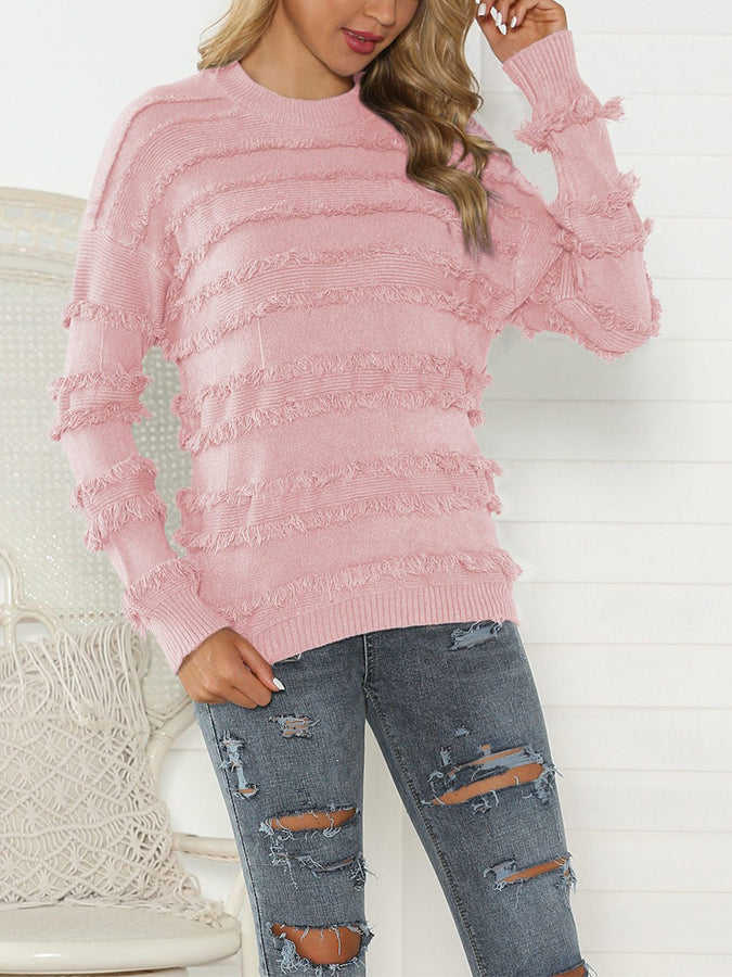 Sweet Knitted Long Sleeve Crew Neck Sweater
