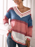 Red Geometric Long Sleeve Knitted Sweater