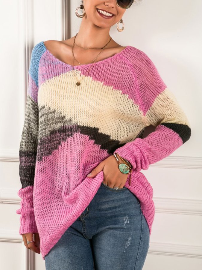 Pink Long Sleeve Crew Neck Sweater