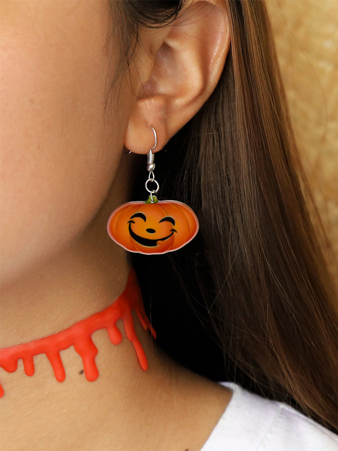 Halloween creative funny pumpkin ghost earrings