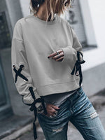 Round Neck Shift Solid Long Sleeve Hoodies&sweatshirts