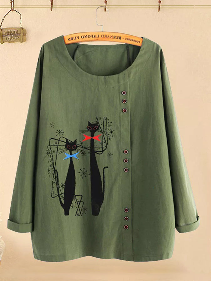 Cartoon Cat Print Button Long Sleeve Blouse For Women