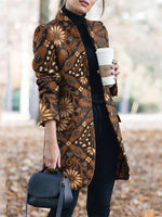 Flower Long Sleeve Casual V Neck Outerwear