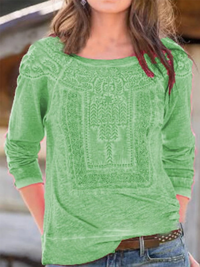 Long Sleeve Embossed Shirts & Tops