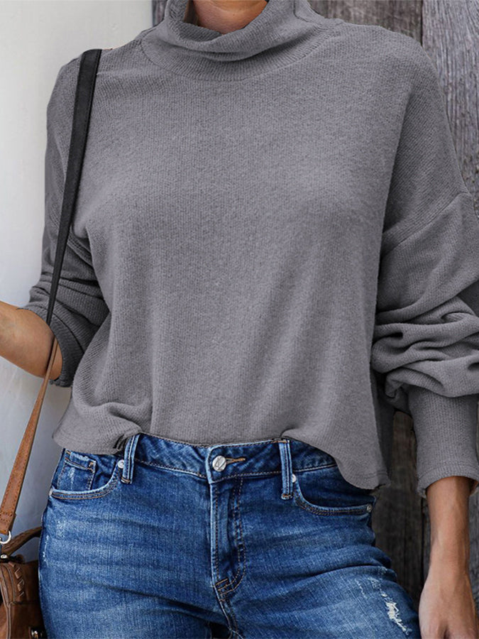 Long Sleeve Shift Turtleneck Cotton-Blend Sweater