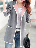 Pocket Design Long Sleeve Grey Cardigan