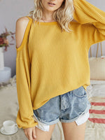 Casual Solid Off Shoulder Long Sleeve Shirts & Tops