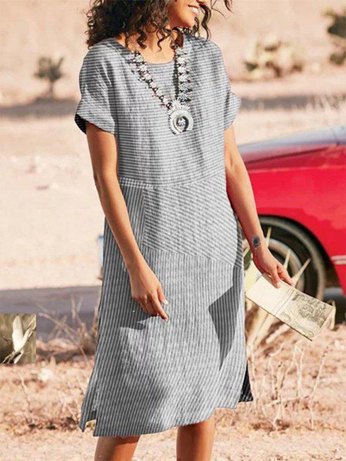 Gray Round Neck Shift Short Sleeve Dresses