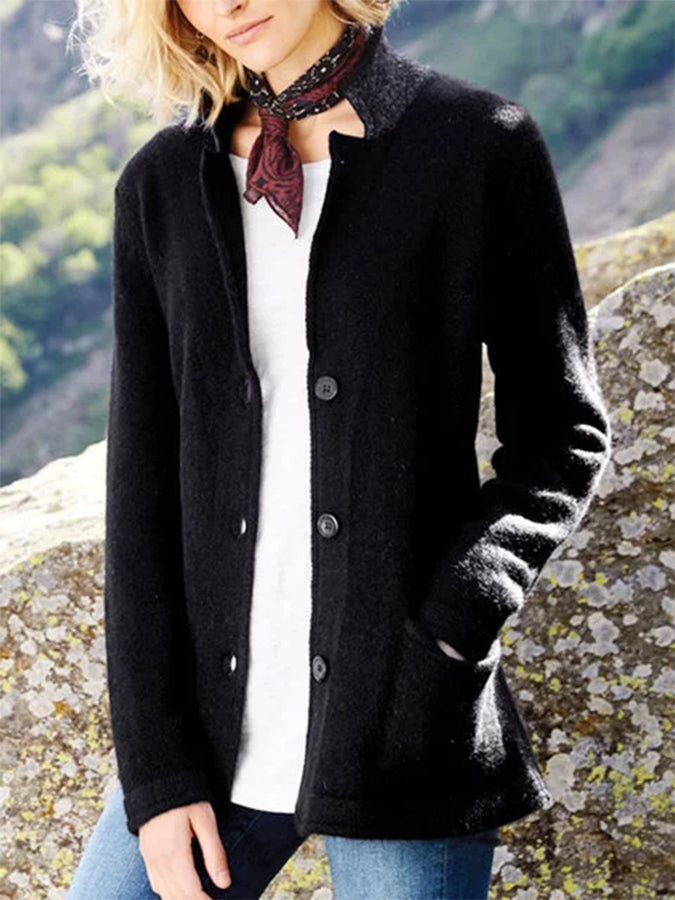 Knitted Long Sleeve Casual Shift Outerwear