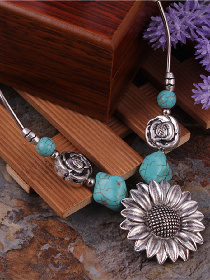 Personality Sunflower Flower Turquoise Necklace