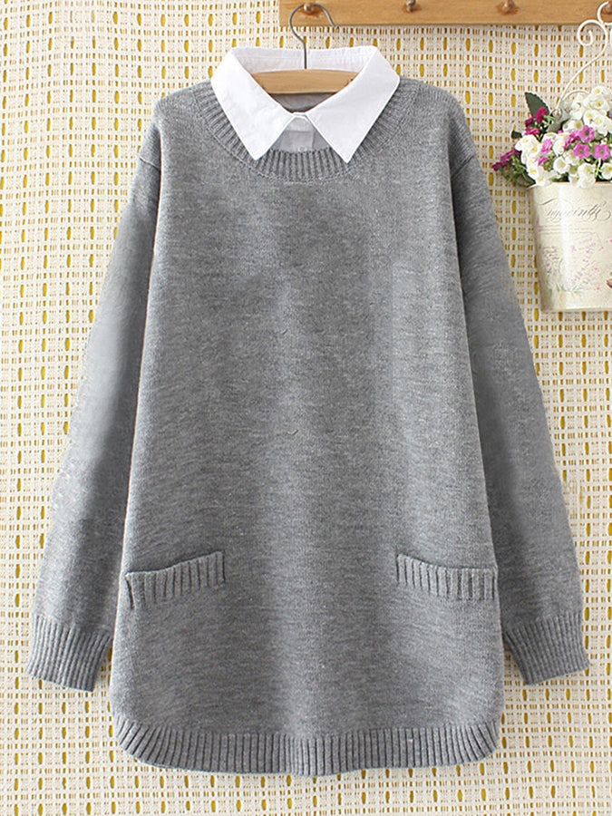 Long Sleeve Solid Casual Knitted Shirts & Tops