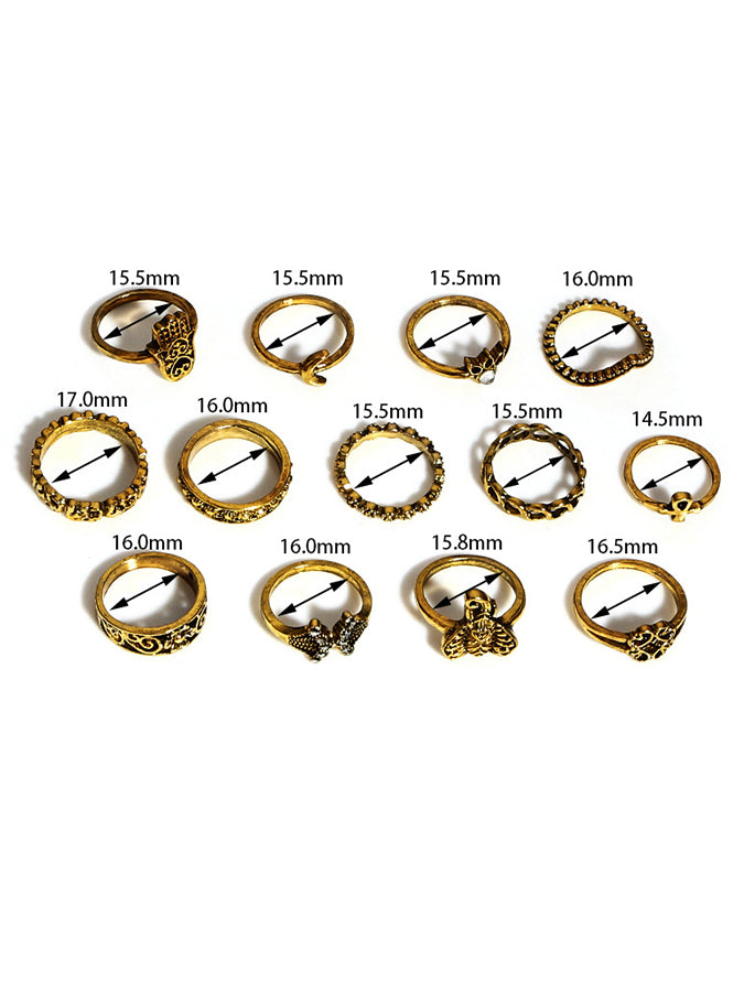Fashionable retro carved elephant crescent inlaid with 13 sets of gemstone composite rings