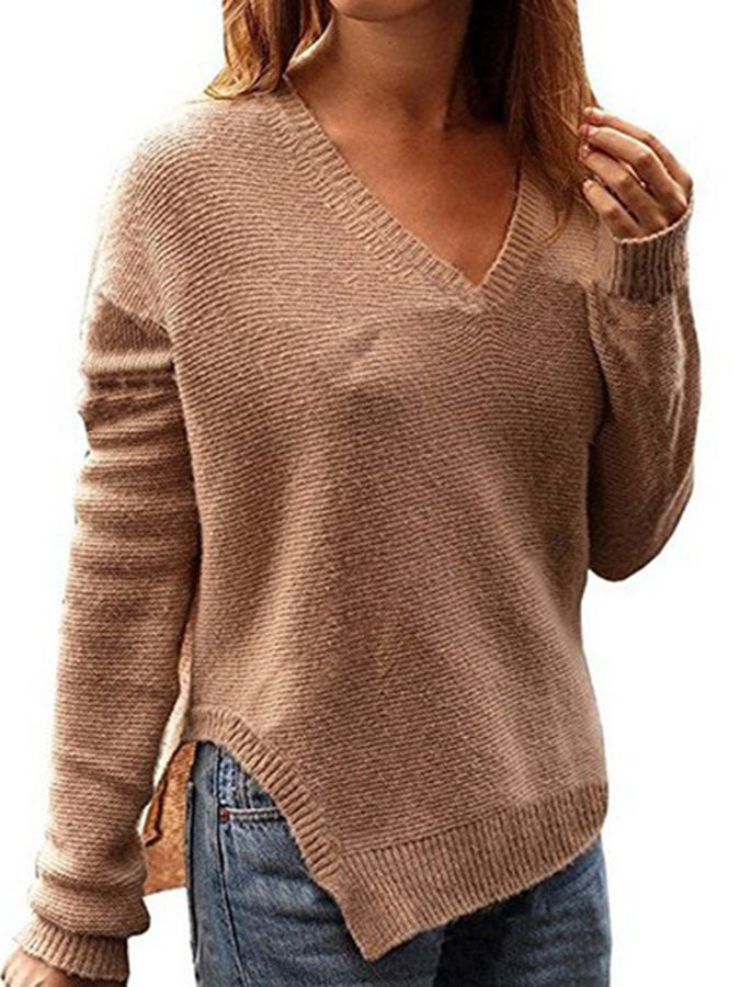 Long Sleeve Casual Shift Paneled Sweater
