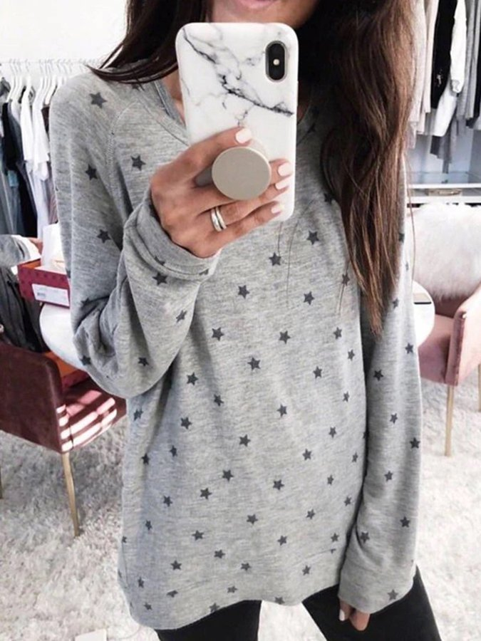 Polka Dots Long Sleeve Cotton Shift Sweater