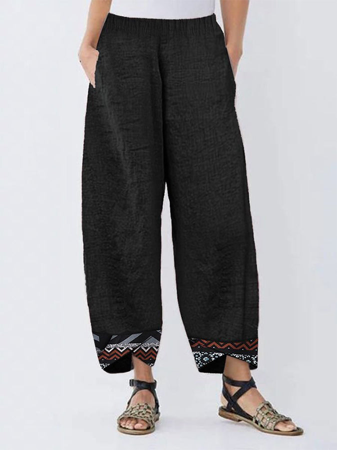 Ethnic Print Patchwork Irregular Pants For Women