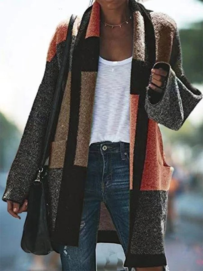 Long Sleeve Patchwork Outerwear