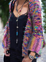 Colorful irregular fringed shawl, large yard cloak knitted sweater