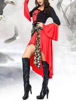 Halloween Red Party Sheath Suits With Belt Hat