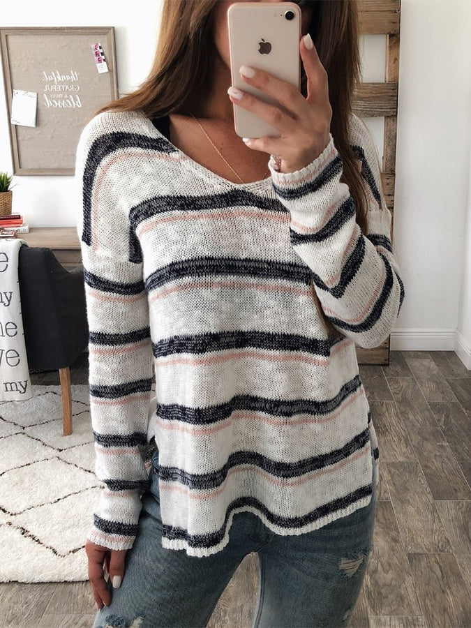 White Long Sleeve Casual Sweater