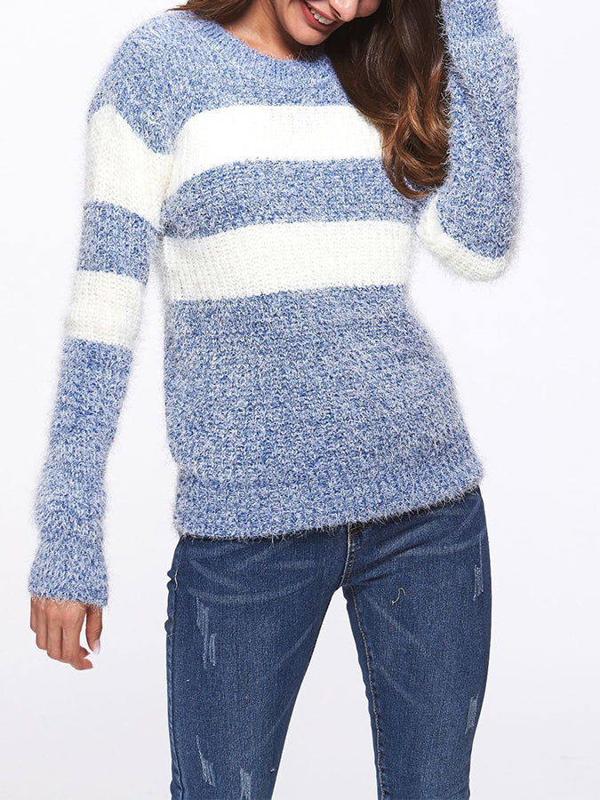 Color-Block Long Sleeve Shift Sweater