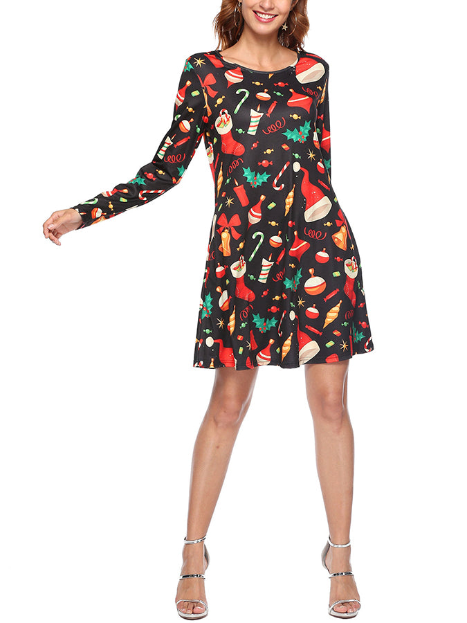 Black A-Line Floral-Print Long Sleeve Dresses