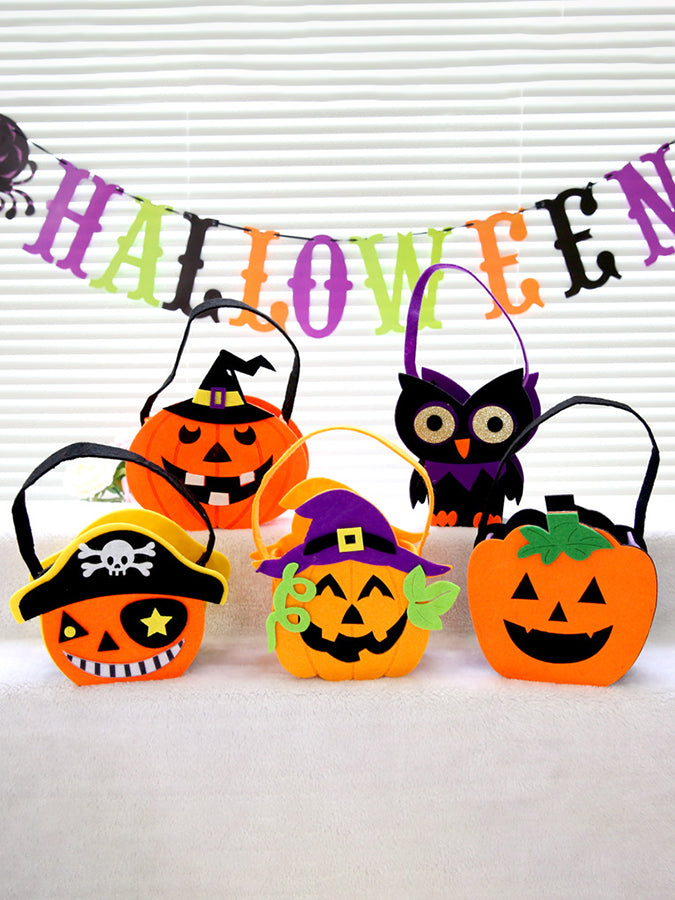 Creative Halloween Products Kindergarten Activities Non-Woven Three-Dimensional Pumpkin Bag Gift Bag Portable Candy Bag