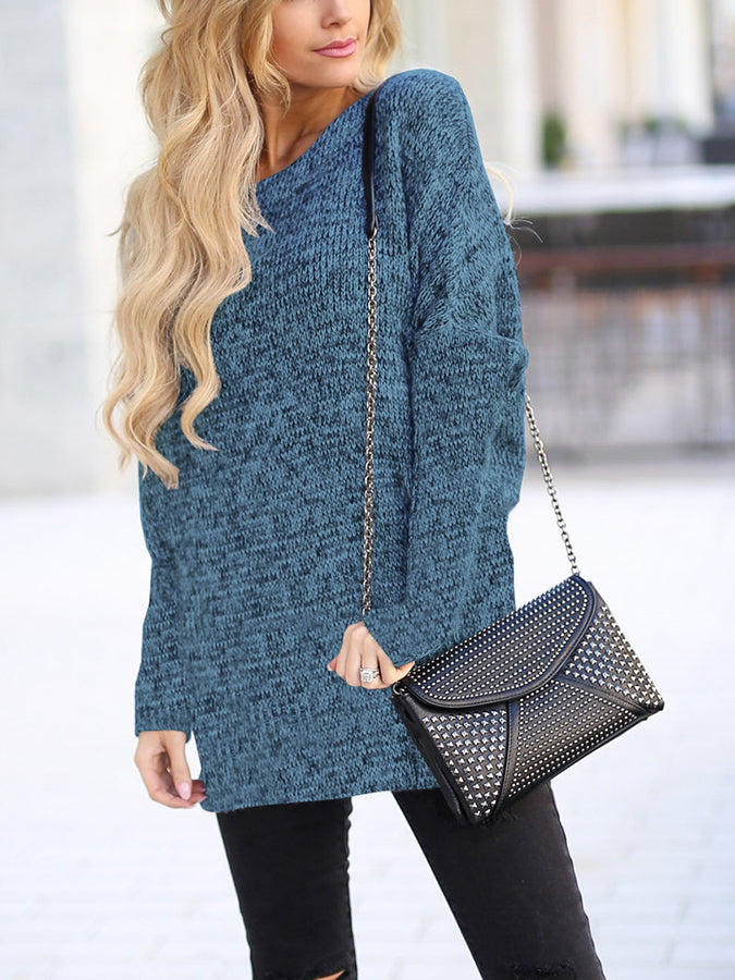 Plain Crew Neck Long Sleeve Sweater