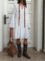 White V Neck Long Sleeve Shift Solid Dresses