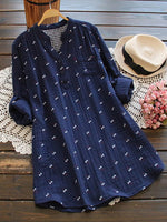 Shift Floral-Print Casual Long Sleeve Shirts & Tops