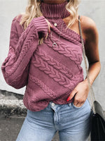 Purple Sexy Knitted Sweater