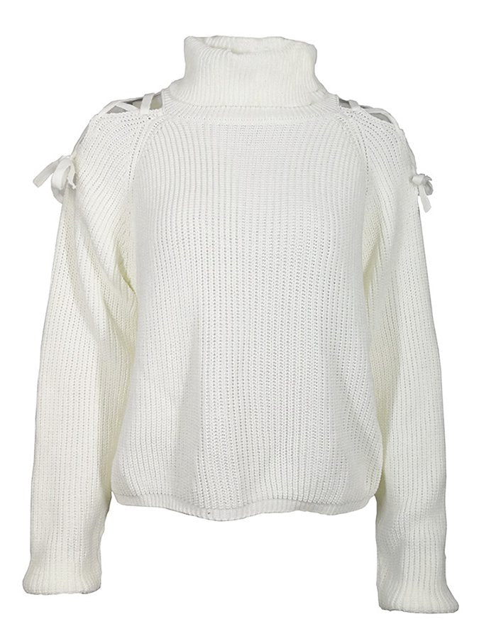 White Long Sleeve Cotton Casual Sweater