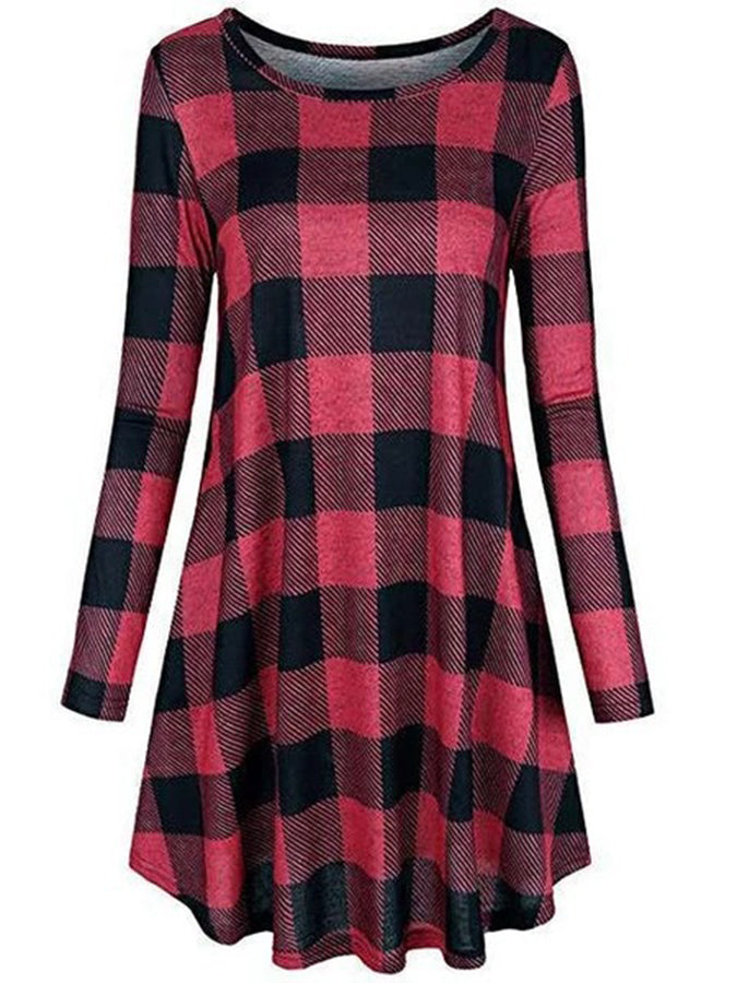 Casual Cotton Checkered/plaid Dresses