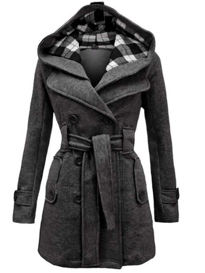 Women's Plaid hooded overcoat with double-breasted waistband and long jacket