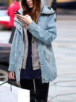 Blue Hoodie Long Sleeve Shift Cotton Outerwear