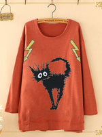 Crew Neck Long Sleeve Cartoon Cat Print Blouse For Women