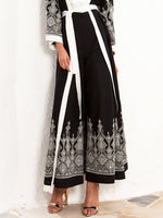 Black Geometric Embroidery Holiday Cotton Pants
