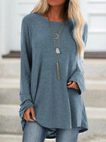 Shift Long Sleeve Solid Casual Shirts & Tops