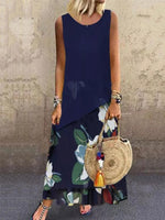 Navy Blue Sleeveless Cotton-Blend Dresses