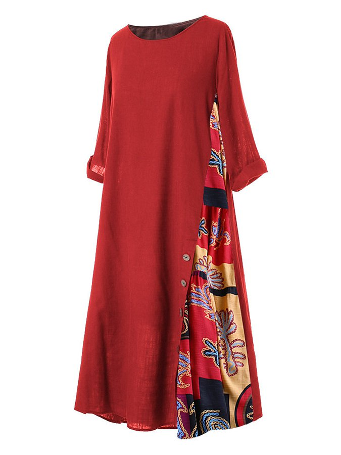 Half Sleeve Holiday Cotton-Blend Dresses