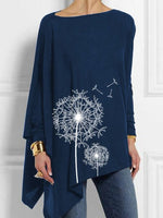 Long Sleeve Shift Crew Neck Cotton T-Shirt & Blouse