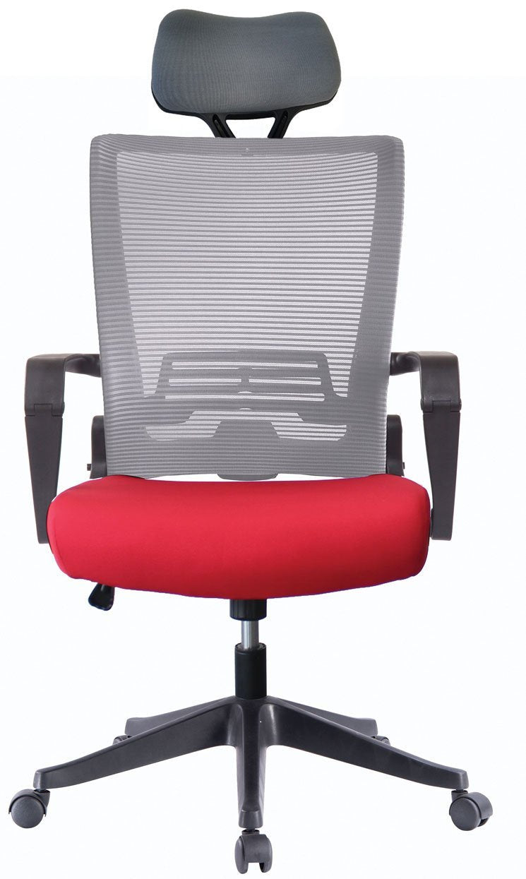 Ergo Hq Grey Mesh Back Office Chair With Grey Head Rest Red