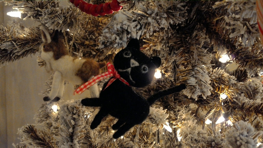 Wool Felt Kitten Ornament, black