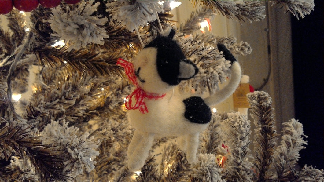 Wool Felt Kitten Ornament, black and white