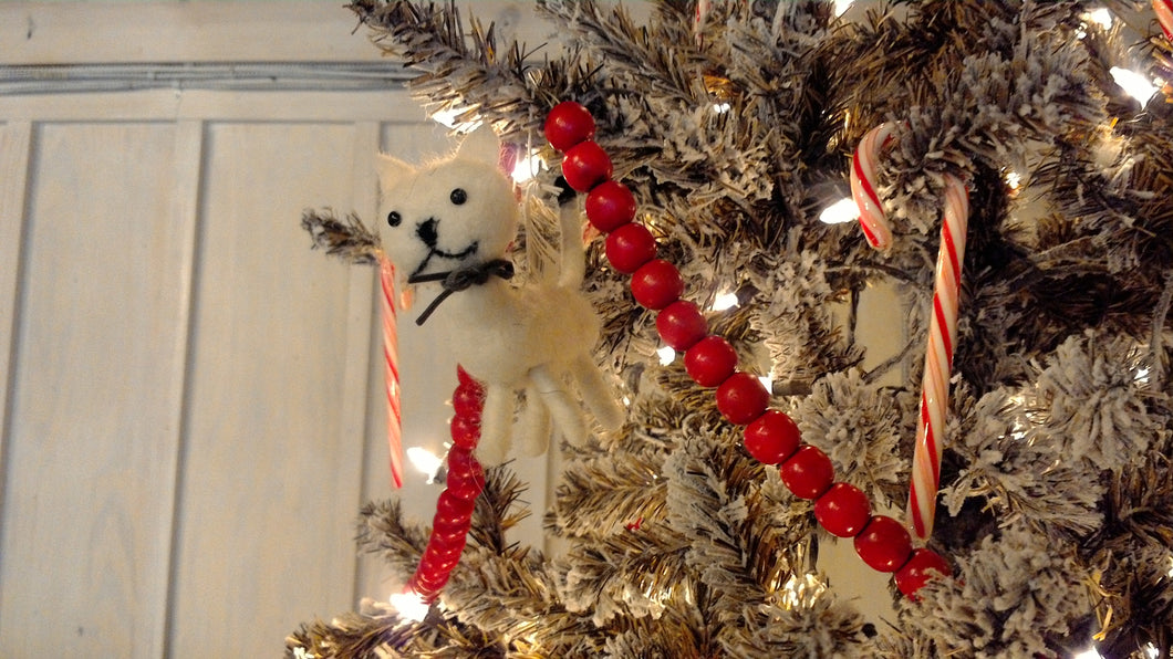 Wool Felt Kitten Ornament, white