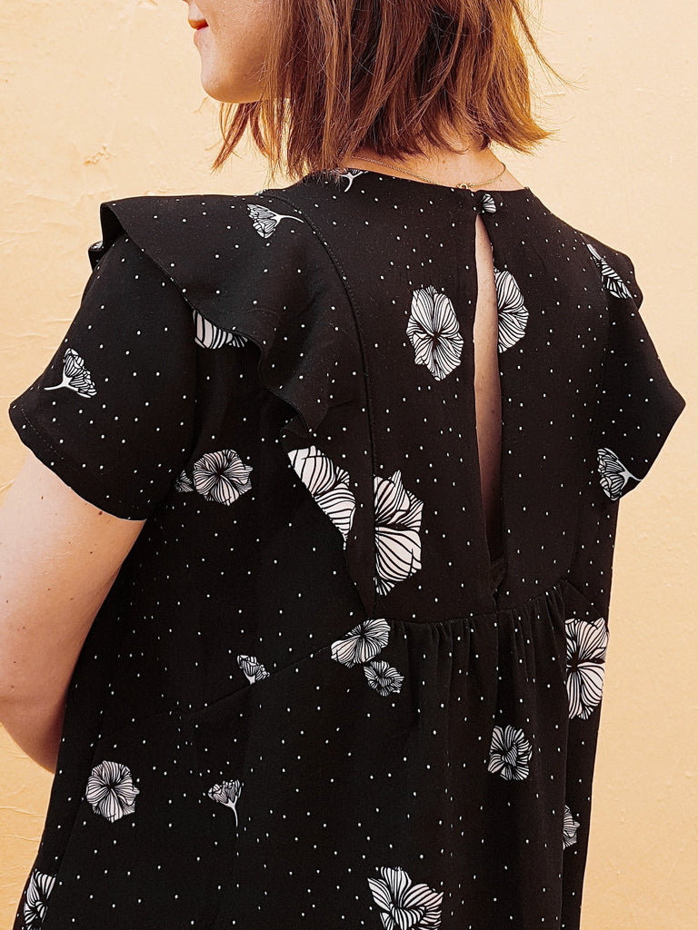 "Viscose ""Blossom rain"" - coloris deep black - Joli Lab"