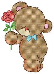 Free Cross Stitch Teddy in Love Design